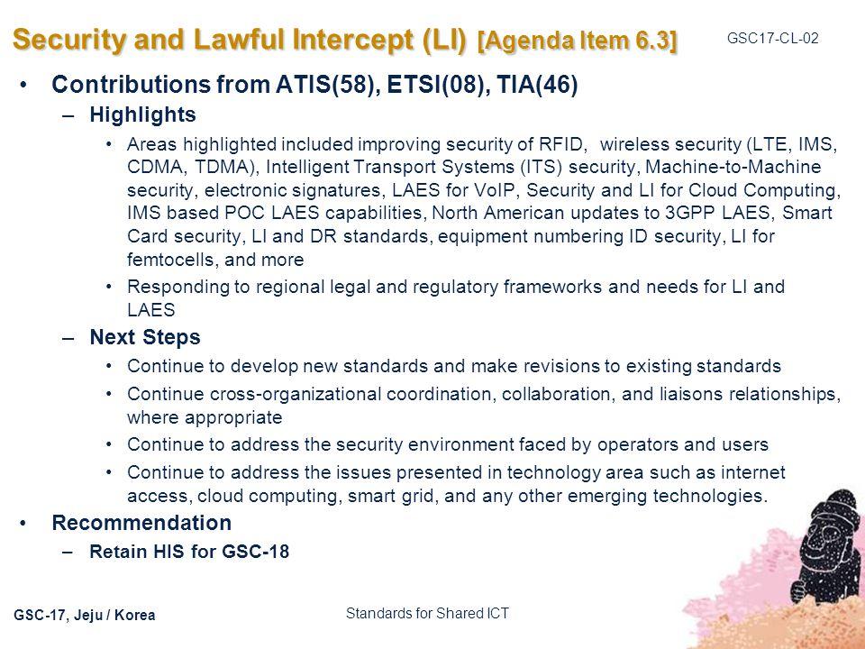Security and Lawful Intercept (LI) [Agenda Item 6.3]